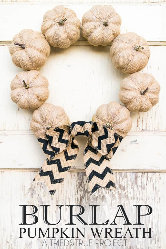 Use a few inexpensive supplies from a dollar store to make this 15 minute Burlap Pumpkin Wreath!