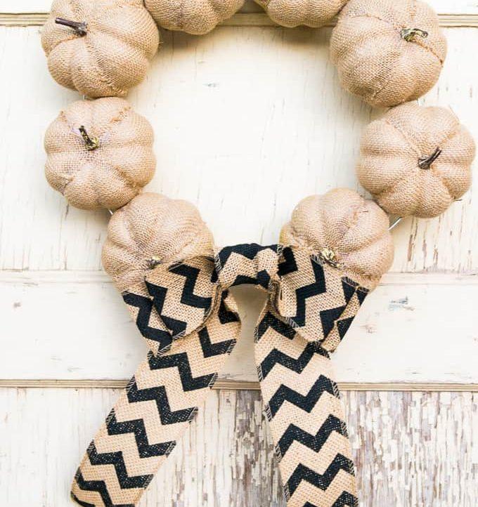 15 Minute Burlap Pumpkin Wreath - Final