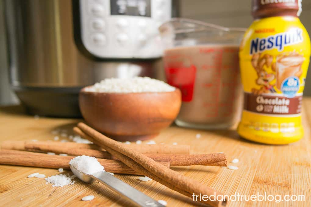 Pressure Cooker Chocolate Rice Pudding - Ingredients
