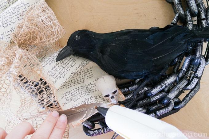 The Raven Halloween Wreath - Glue Details
