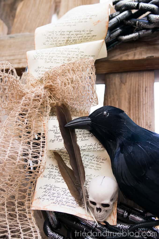 The Raven Halloween Wreath - Close up