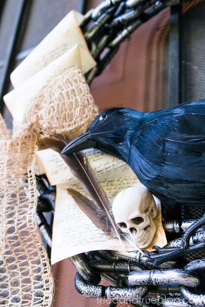 The Raven Halloween Wreath - Skull