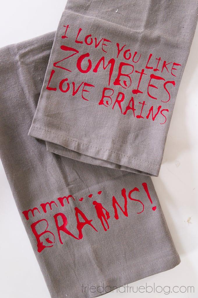 Zombie Halloween Dish Towels - Words