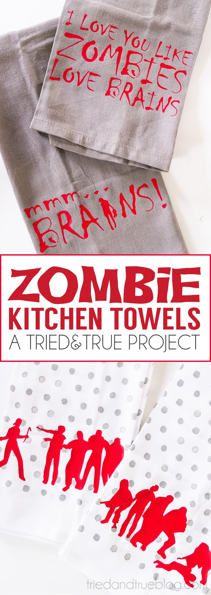 Four different Zombie Halloween Kitchen Towels designs for you to choose from! Includes FREE Silhouette cutting files.