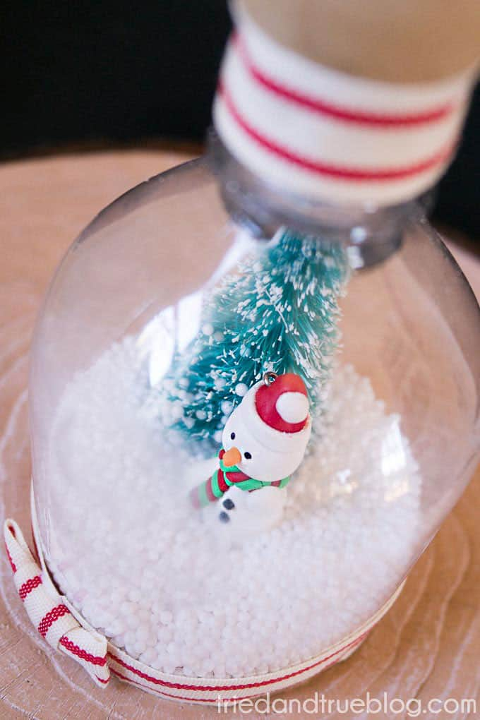 DIY Recycled Snow Globe - Close Up