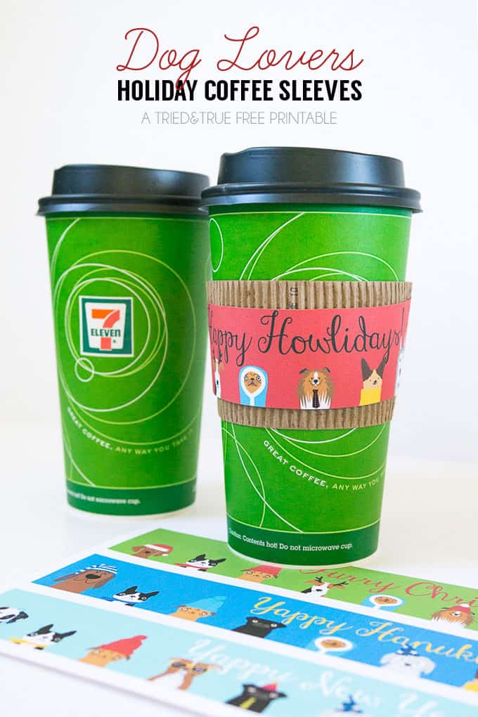 Need a quick last minute gift? These Dog Lovers Free Holiday Coffee Sleeves can be made in just minutes.