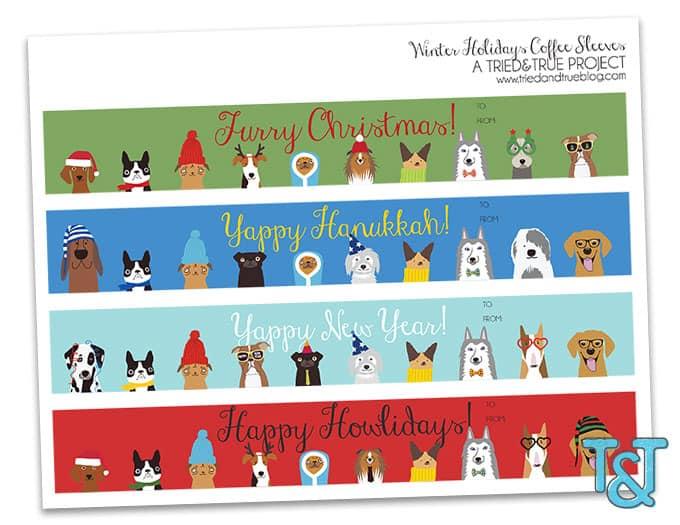 Dog Lovers Free Holiday Coffee Sleeves - Print