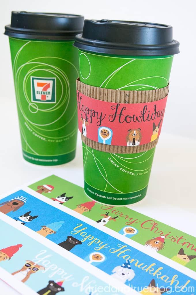 Dog Lovers Free Holiday Coffee Sleeves - Howlidays