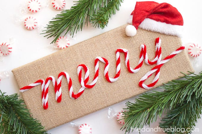 """Merry"" Vintage Christmas Sign - Display"