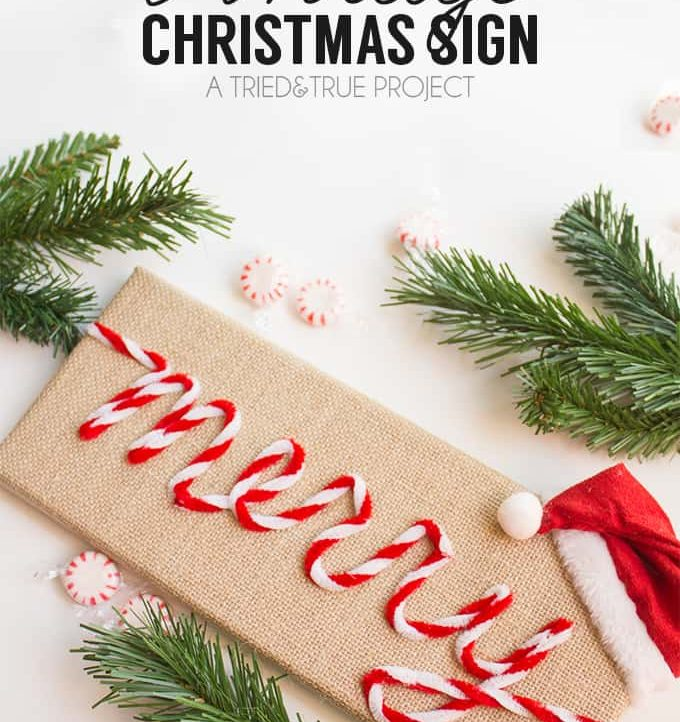 """Make this super fun """"Merry"""" Vintage Christmas Sign in under 15 minutes with just glue gun and pipe cleaners!"""