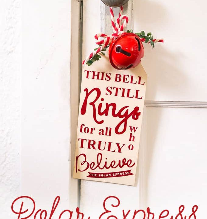 This Polar Express Bell Sign is easy with the free vinyl cutting file!
