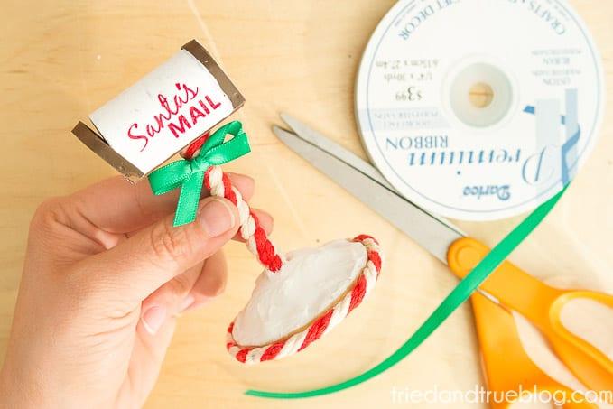 Santa's Mailbox Ornament - Bow
