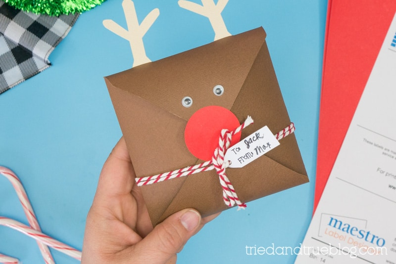 Hand holding Rudolph Gift Cookie Envelope