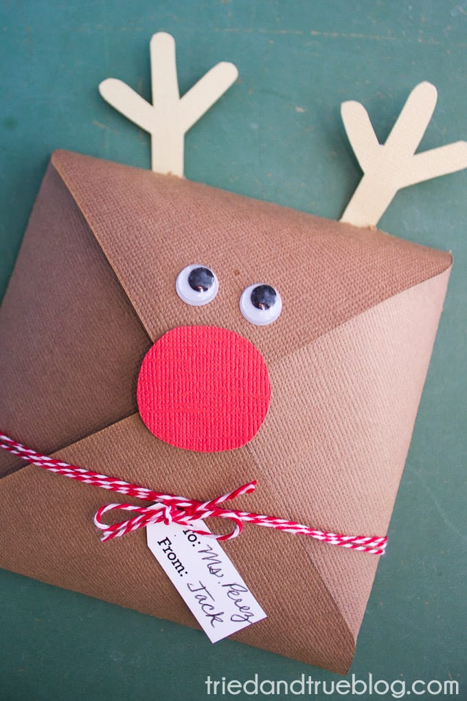Close up of the Rudolph Gift Cookie Envelope