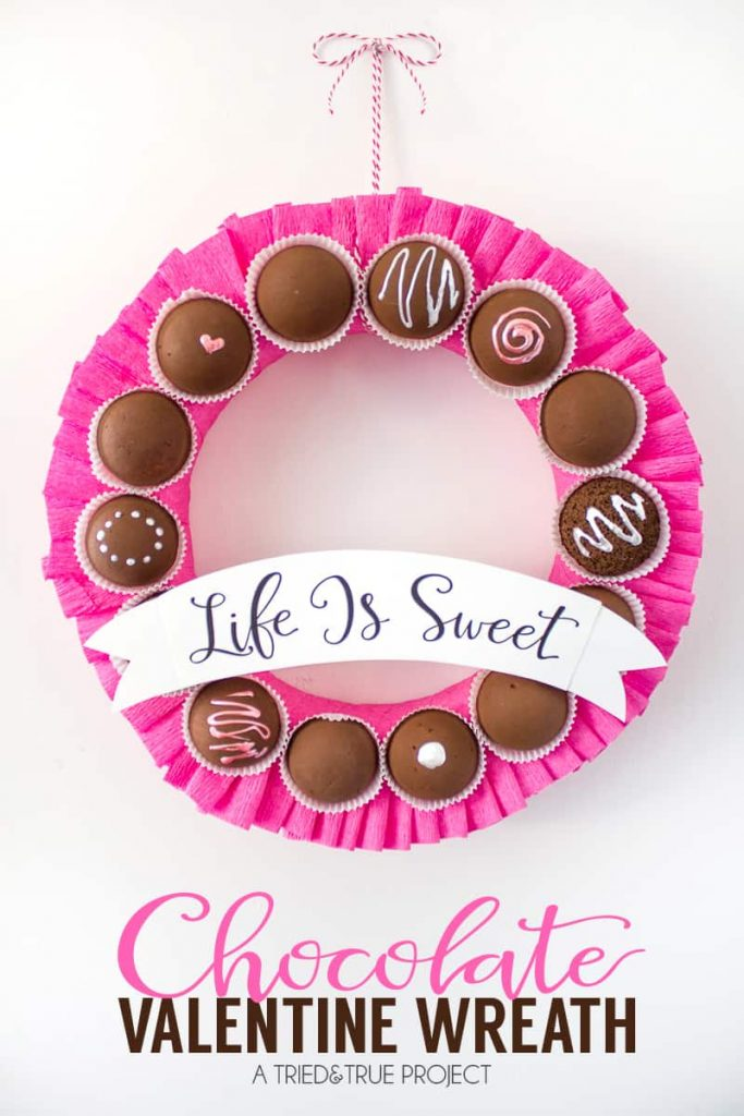 Life is sweet with this Chocolate Valentine's Day Wreath
