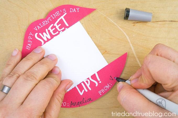 Sweet lips lip gloss valentines card