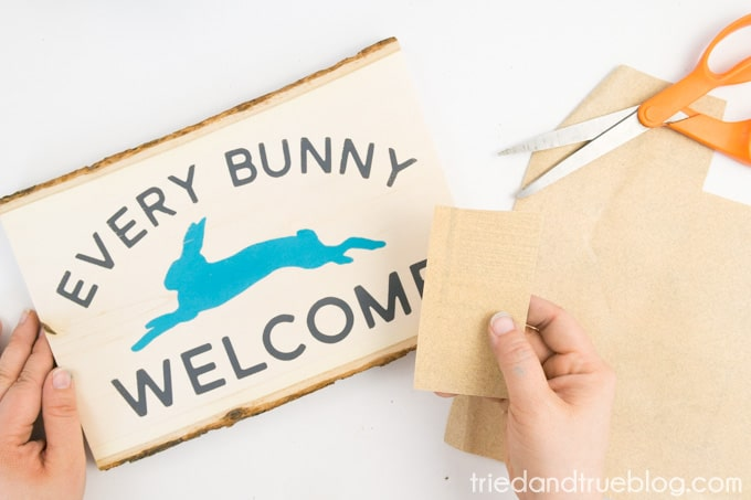 """""""Every Bunny Welcome"""" Easter Vintage Sign - Sand"""