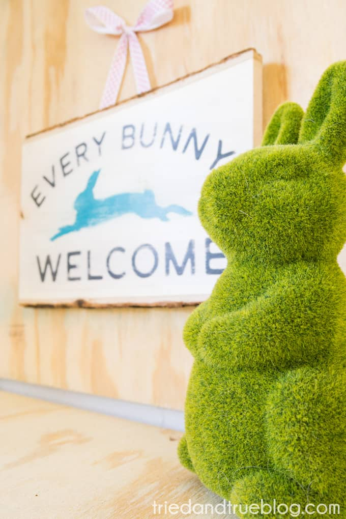"""""""Every Bunny Welcome"""" Easter Vintage Sign - Hung"""