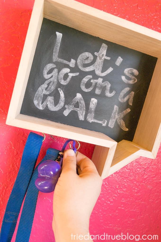 Faux Chalkboard Dog Leash Holder - Leash