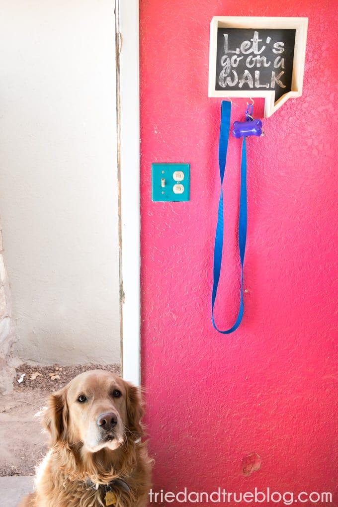 Faux Chalkboard Dog Leash Holder - Ready