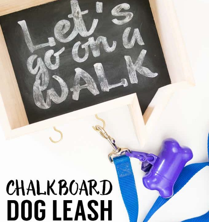 Make this adorable Faux Chalkboard Dog Leash Holder for your best friend!