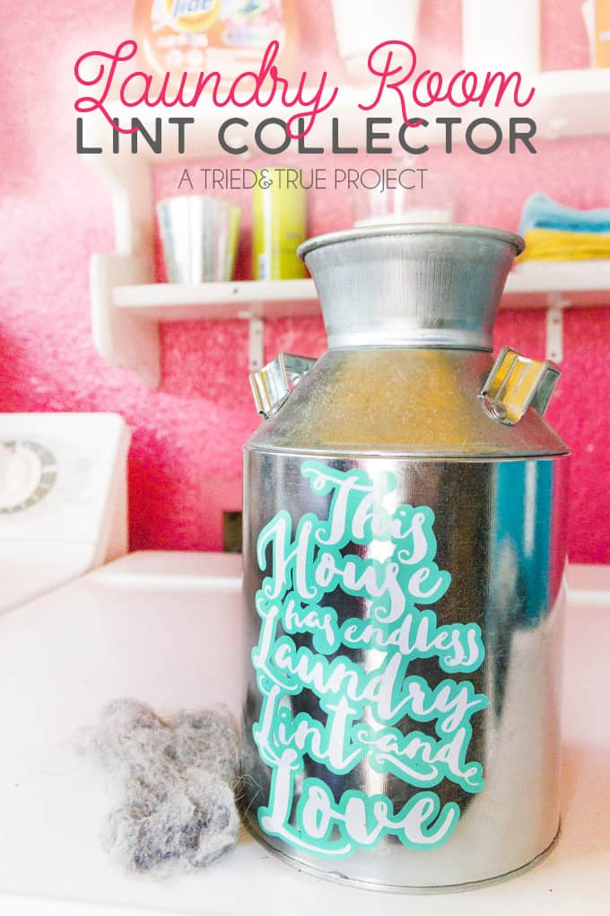 Use the free cutting file to make this cute Laundry Room Lint Collector!