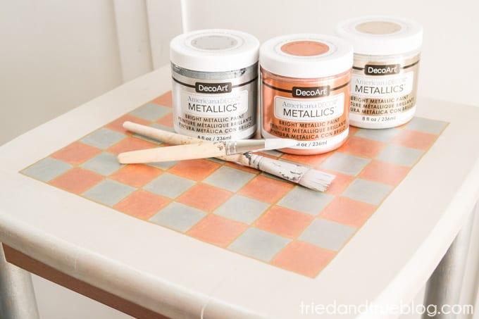 Metallic Checkerboard Side Table - Metallic Paint