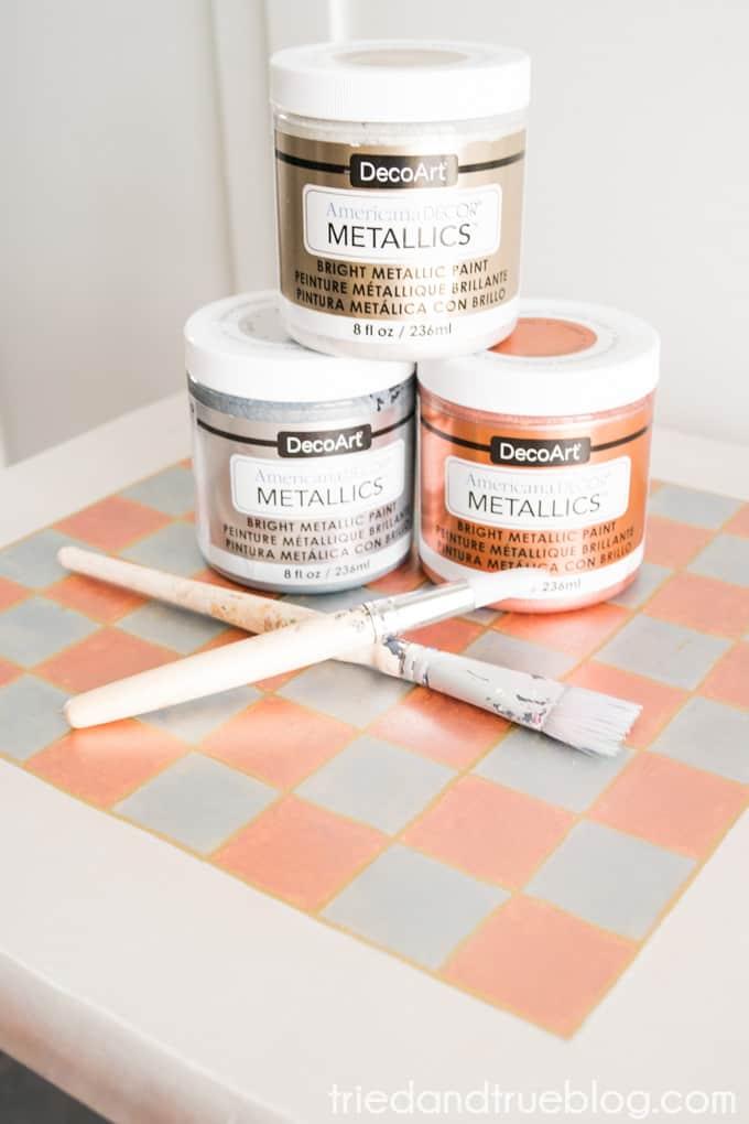 Metallic Checkerboard Side Table - Metallics