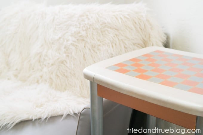 Metallic Checkerboard Side Table - Staged