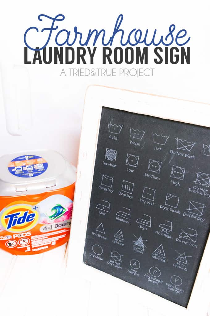 Follow this super easy tutorial to make a Farmhouse Laundry Room Sign!