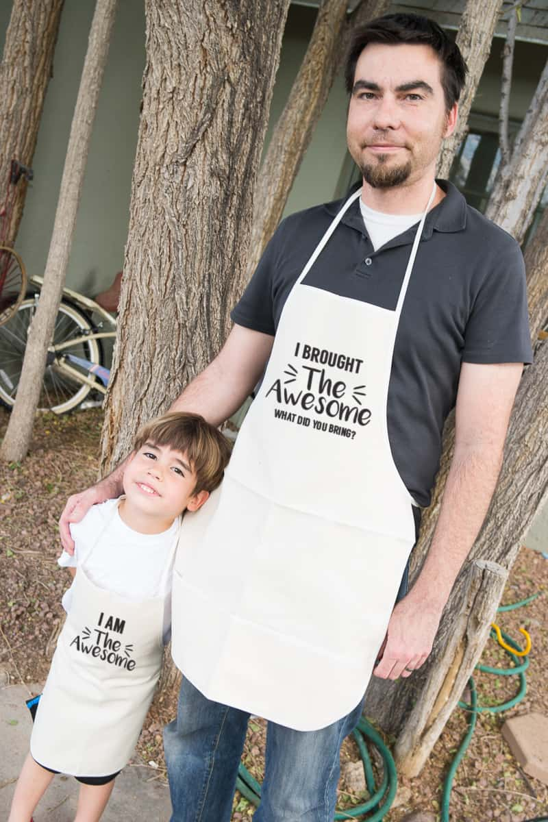 Father's Day Matching Apron Set - Father & Son