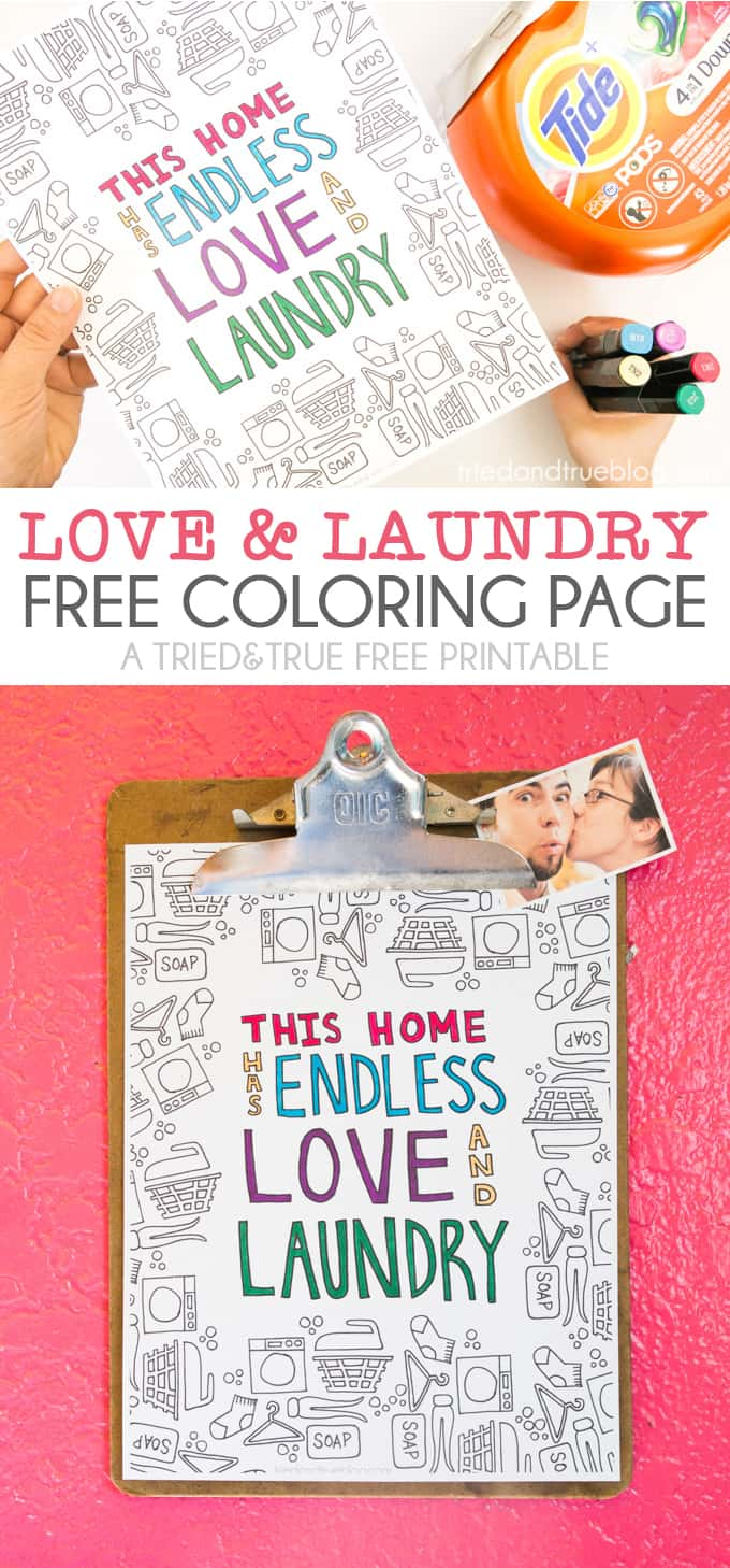 Make your own laundry room art with this Love and Laundry Coloring Page