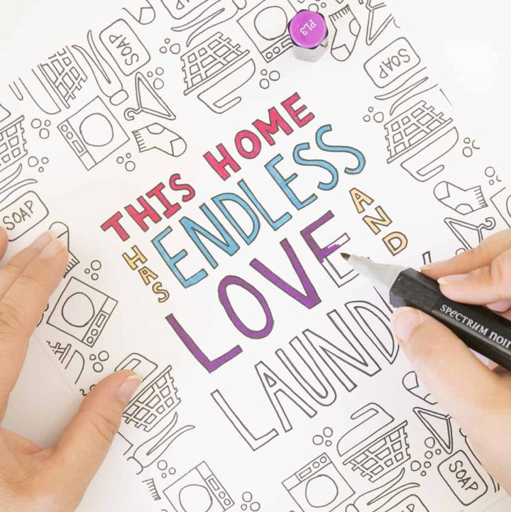 Hand coloring the Love and Laundry Coloring Page