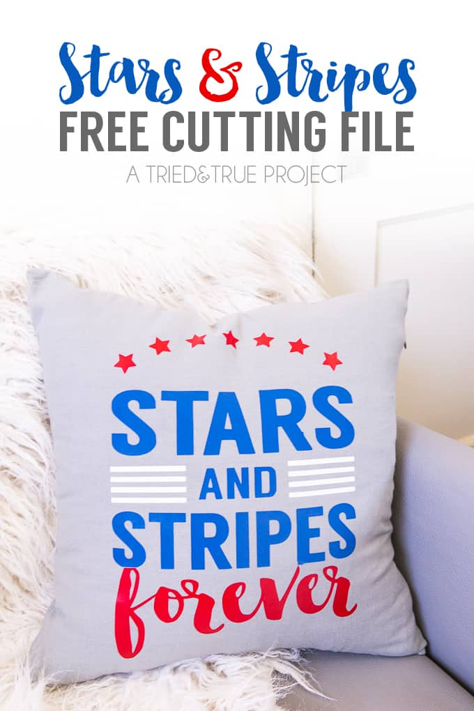 Make this super easy Stars and Stripes Pillow Free Cutting File!