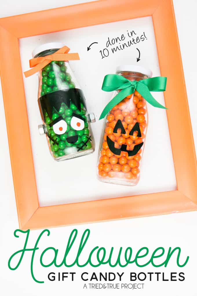 These Easy Halloween Gift Candy Bottles can be made in minutes!