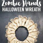 Zombie Hands Halloween Wreath on black background