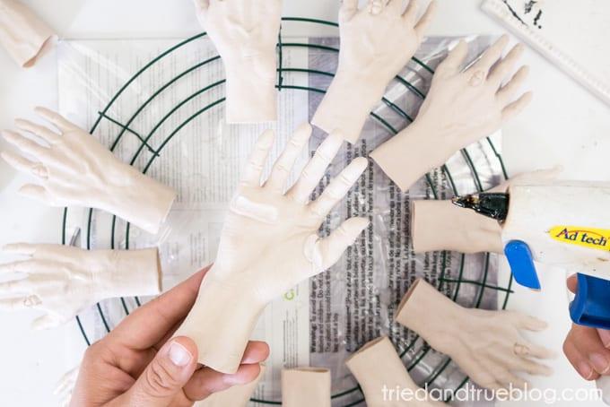 Zombie Hands Halloween Wreath - Glue