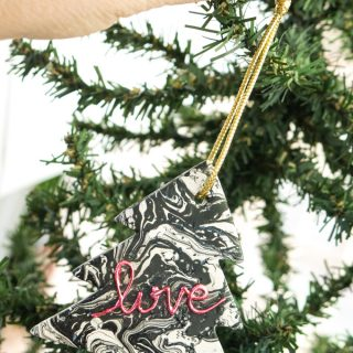 Hang this easy marble ornament on a tree