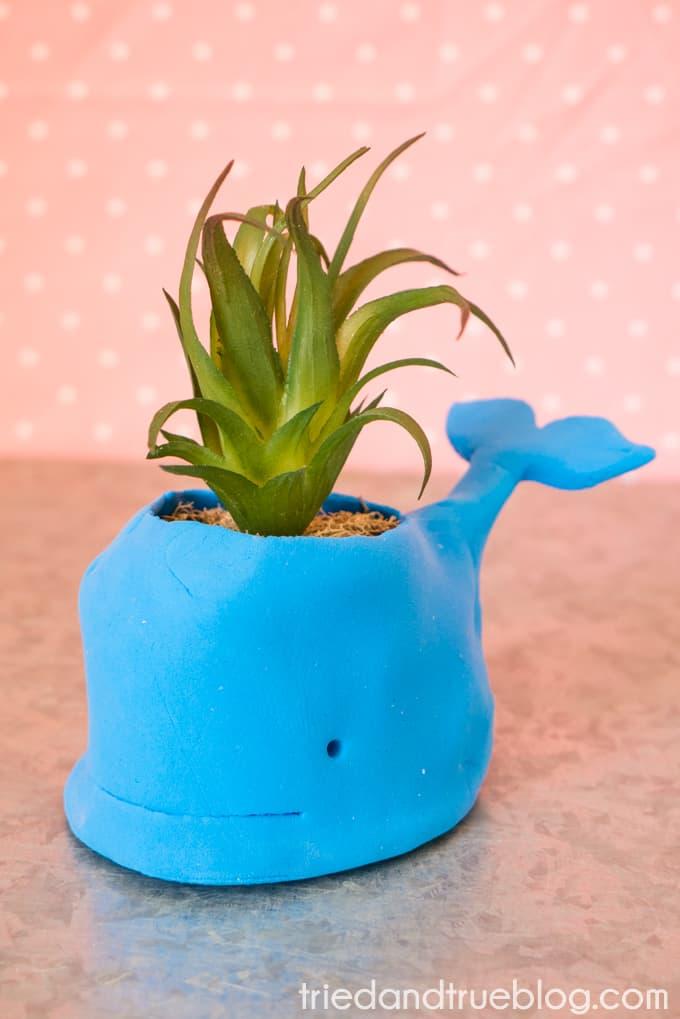 Easy handmade Whale Clay Pot!
