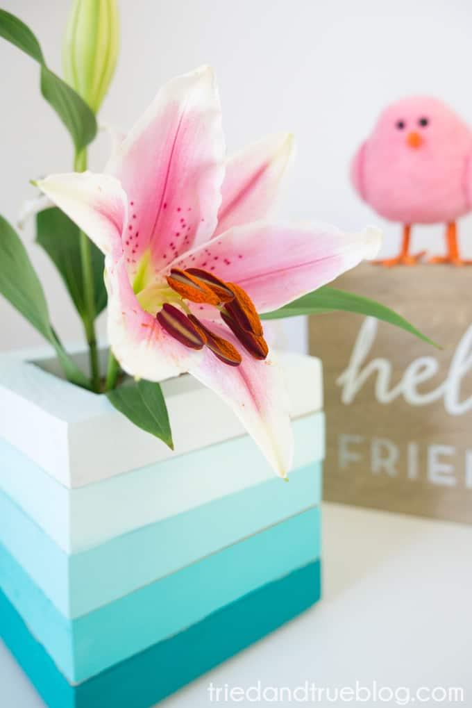 Easy Wood Frame Gradient Vase - Lily