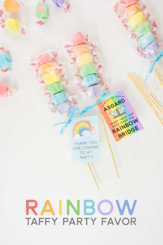 Make these Rainbow Taffy Party Favors in just minutes with the free printable tags!
