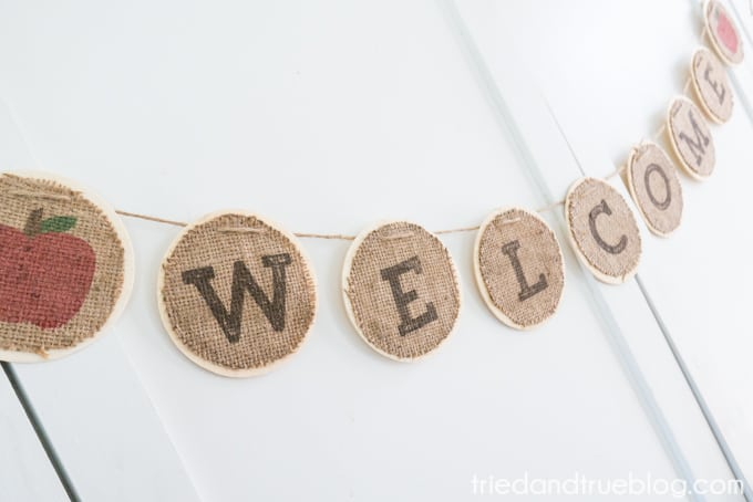 Back To School Burlap Banner - Close Up