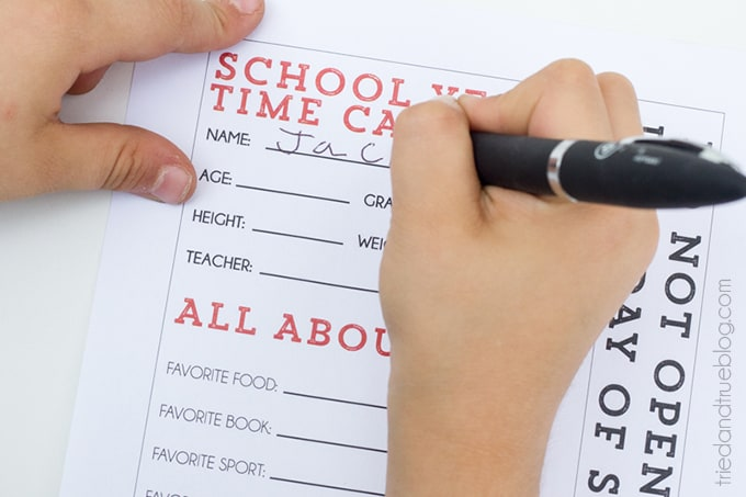 Back To School Year Time Capsule - Write