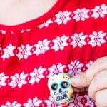 Hot Glue Dia de Los Muertos Calavera Pin