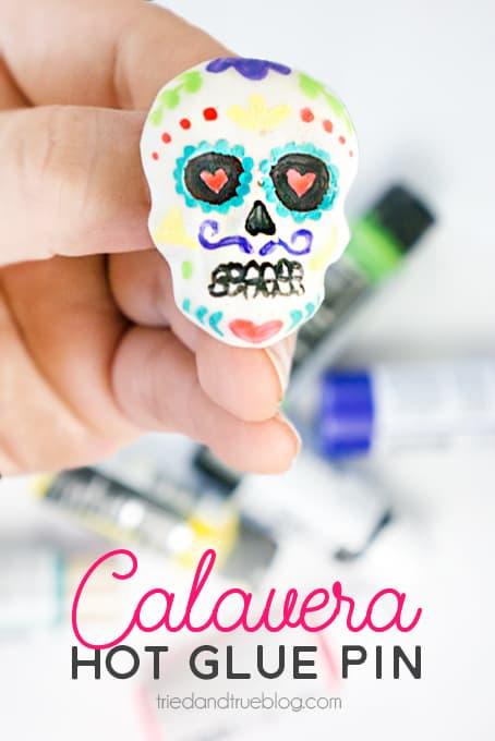 Hot Glue Dia de Los Muertos Calavera Pin | www.triedandtrueblog.com