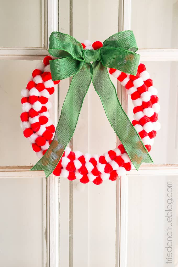How To Make A Pom Pom Wreath In Minutes! - Door