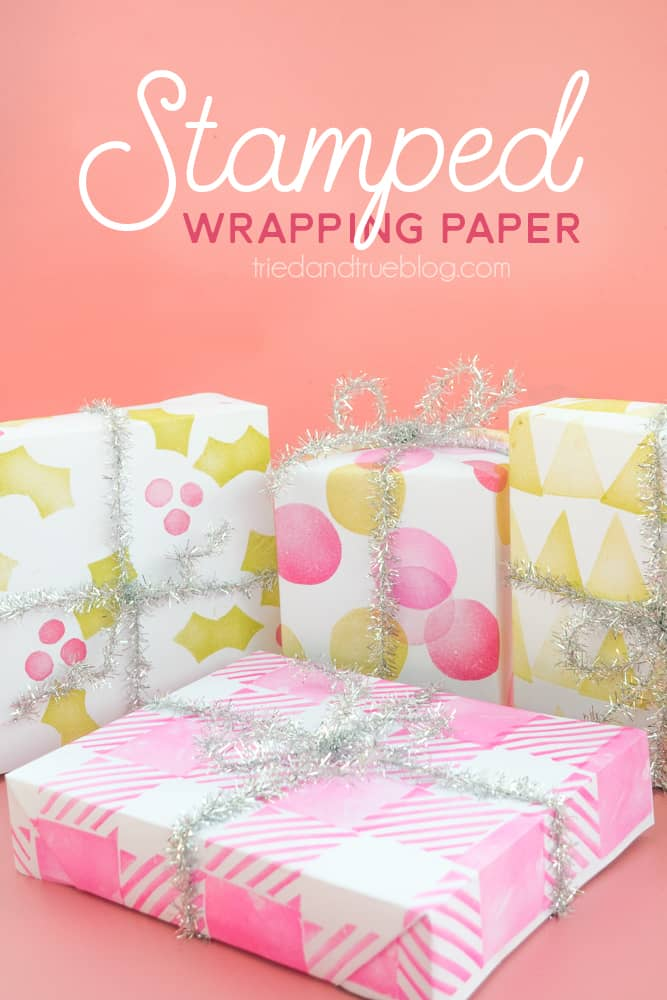 Handmade Stamped Holiday Wrapping Paper - Super easy to make your own wrapping paper with just a couple craft supplies!