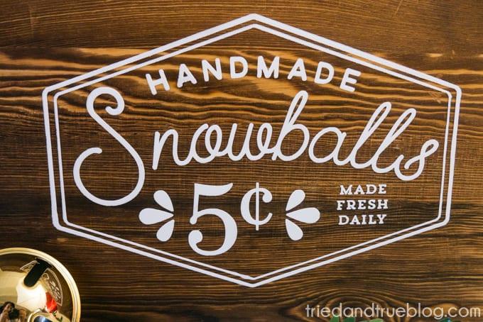 Vintage Snowball Sale Sign - Image Close Up