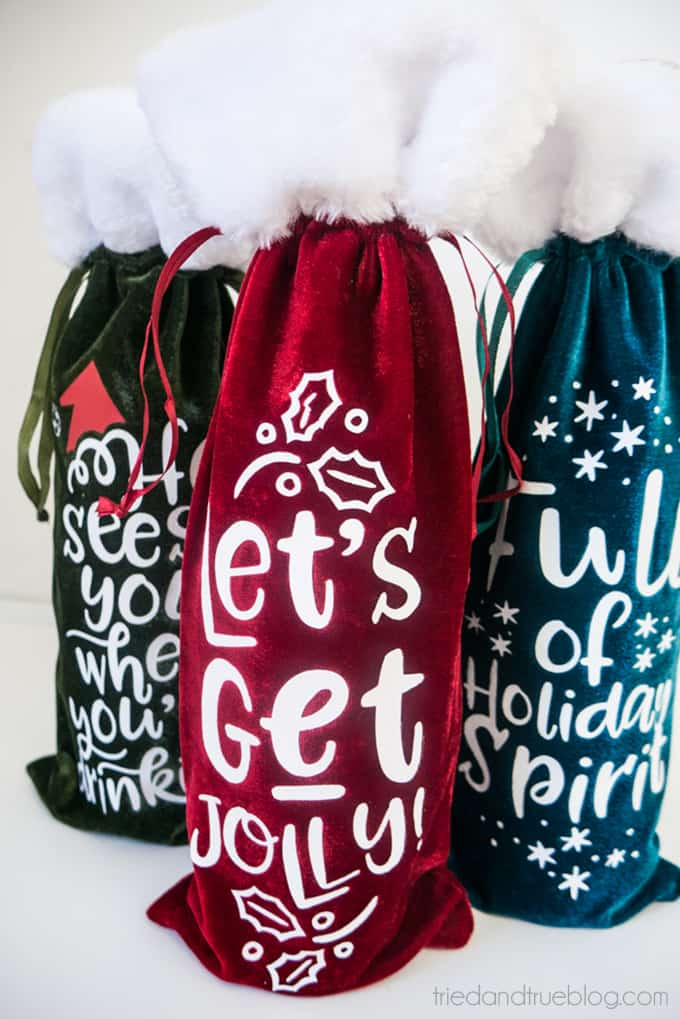 Holiday Wine Gift Bags Free SVG Files - 3 designs