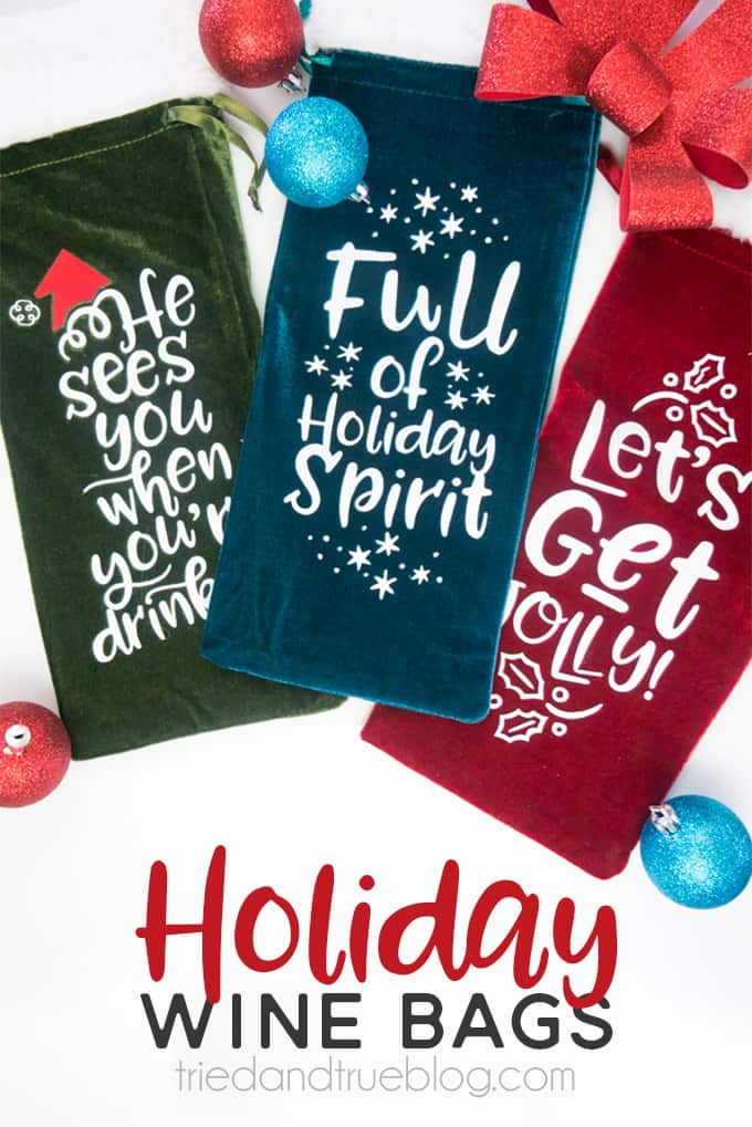 Holiday Wine Gift Bags Free SVG Files - Easy gift everyone will love!